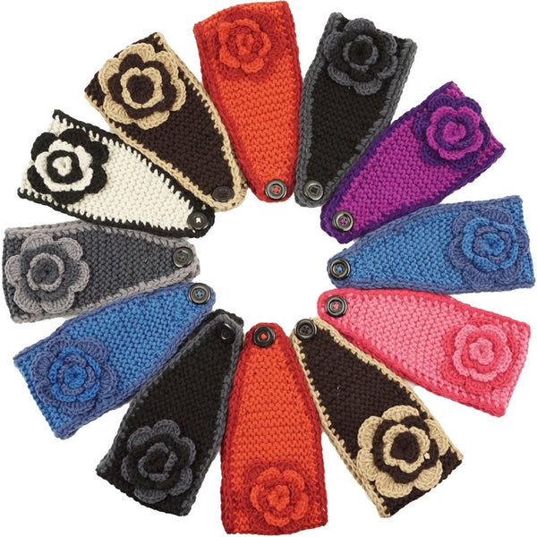 Handmade Headwear Flower Crochet Knit Headwrap Headband Ear Warmer AB5206 - OPT FASHION WHOLESALE