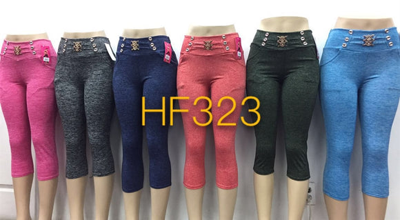 NYC Wholesale Yoga Gym Capri Sports Leggings, HF323 - OPT FASHION WHOLESALE