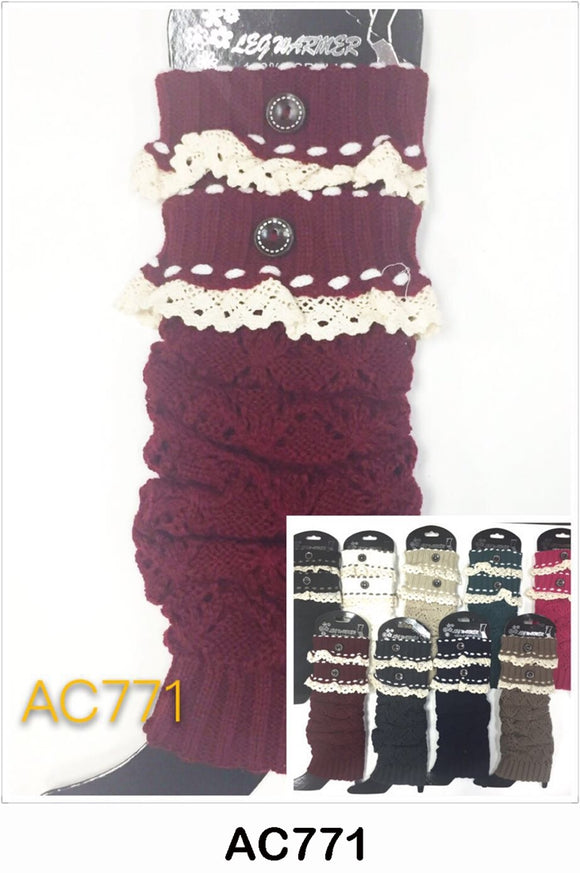 Wholesale Cable Knit Short Leg Warmers Boot Cuffs AC771 - OPT FASHION WHOLESALE