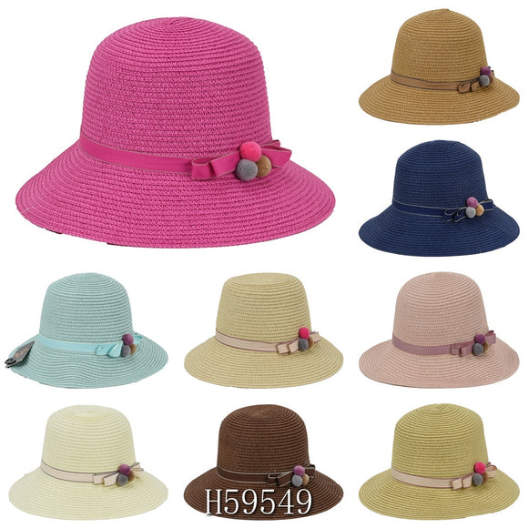 Wholesale Summer Sun Straw Fedora Bucket Hats H59549 - OPT FASHION WHOLESALE