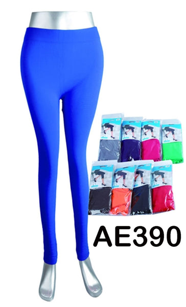 NYC Wholesale Lady Solid Plain Leggings Pants Assorted Colors AE390 - OPT FASHION WHOLESALE