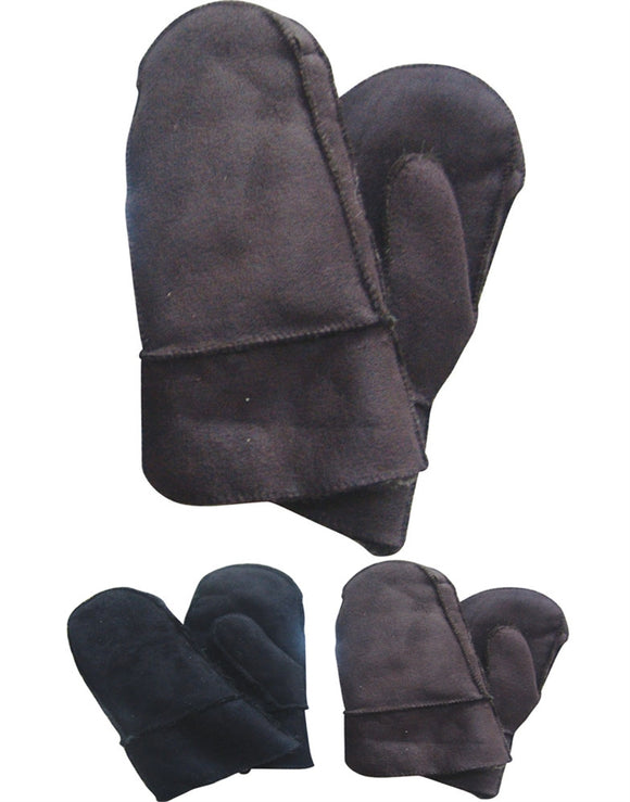 Men Mittens Swine Leather Fur Lined Gloves GZ0807 - OPT FASHION WHOLESALE