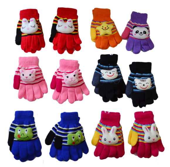 Wholesale Boys Girls Toddler Kids Knit Magic Gloves With Fun Animals GK55048 - OPT FASHION WHOLESALE