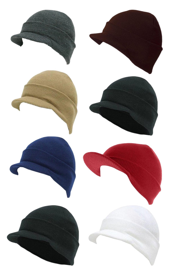 Wholesale Chunky Hard Rim Visor Caps Ski Hats H8003 - OPT FASHION WHOLESALE