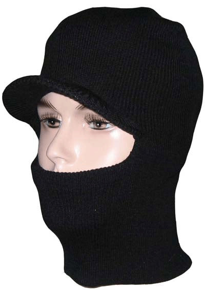 Wholesale Knit Ski Face Balaclava Mask One-hole w/visor Black Only 8352 - OPT FASHION WHOLESALE