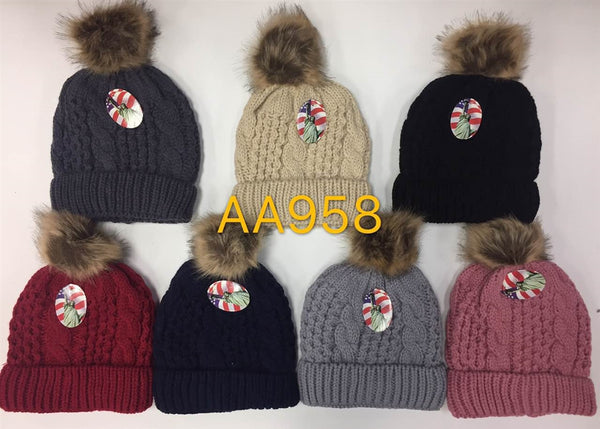 Wholesale Cable Cuffed Fur Pom Knit Beanie Hats AA958 - OPT FASHION WHOLESALE