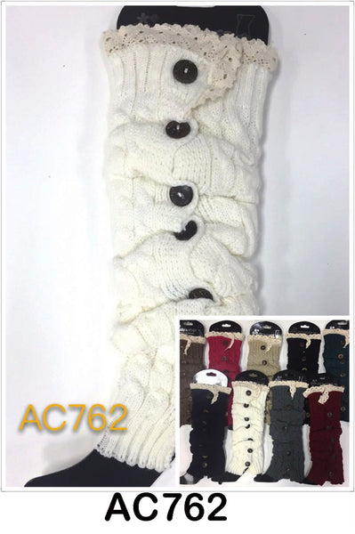 Wholesale Cable Knit Long Leg Warmers Boot Cuffs AC762 - OPT FASHION WHOLESALE
