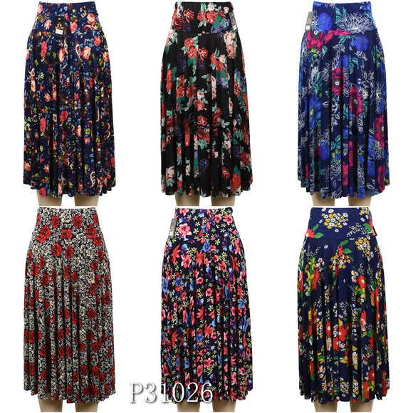 Wholesale Fashion Flower Print Long Maxi Skirts, P31026 - OPT FASHION WHOLESALE