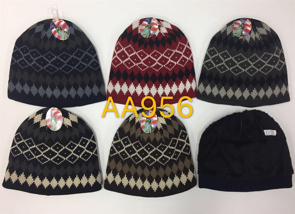 Wholesale Knit Fur Lining Beanie Hats AA956 - OPT FASHION WHOLESALE
