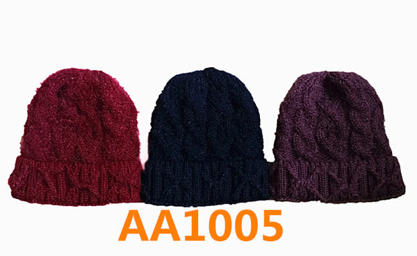 Lady Winter Cable Knitted Long Cuffed Hat Beanies Skull Cap Fur Lining AA1005 - OPT FASHION WHOLESALE