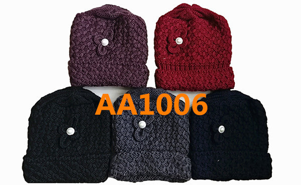 Lady Winter Cable Knitted Long Cuffed Hat Beanies Skull Cap Fur Lining AA1006 - OPT FASHION WHOLESALE