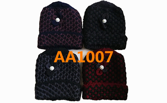 Lady Winter Cable Knitted Long Cuffed Hat Beanies Skull Cap Fur Lining AA1007 - OPT FASHION WHOLESALE