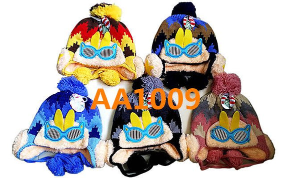 Kids Boys Girls Animal Winter Warm Hats Caps Fur Lining W/Earflap AAA1009 - OPT FASHION WHOLESALE