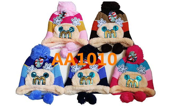 Kids Boys Girls Animal Winter Warm Hats Caps Fur Lining W/Earflap AA1010 - OPT FASHION WHOLESALE