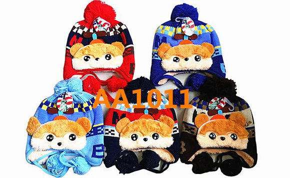 Kids Boys Girls Animal Winter Warm Hats Bear Caps Fur Lining W/Earflap AA1011 - OPT FASHION WHOLESALE