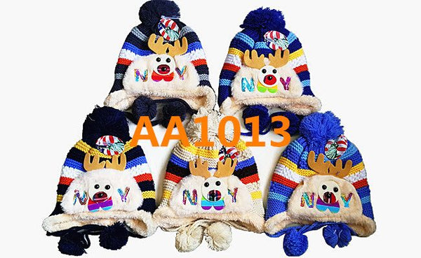Kids Boys Girls Animal Winter Warm Hats Caps Fur Lining W/Earflap AA1013 - OPT FASHION WHOLESALE