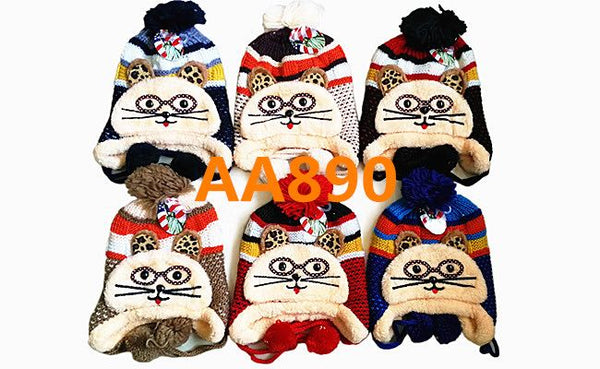 Kids Boys Girls Animal Winter Warm Hats Caps Fur Lining W/Earflap AA890 - OPT FASHION WHOLESALE