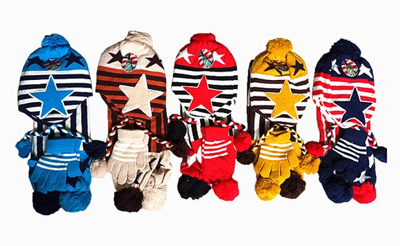 Wholesale Kids Toddler Boys Girls 3 Pieces Set Winter Knit Hats Scarf Gloves Pom Cap, AA941