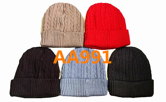 Winter Ribbed Cable Knitted Hat Beanies Skull Cap Fur Lining AA991