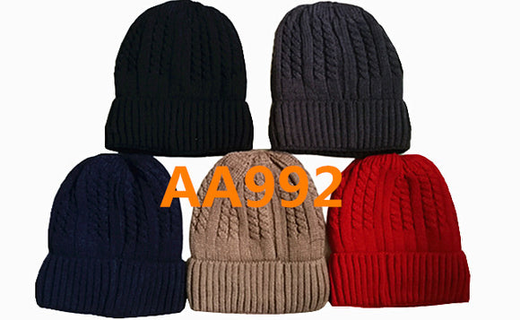 Lady Winter Ribbed Cable Knitted Hat Beanies Skull Cap Fur Lining AA992 - OPT FASHION WHOLESALE