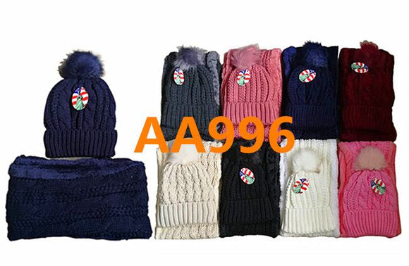 Wholesale Knit Cuffed Cable Beanie Hats W/Fur Pom And Fur Infinity Scarf 2 PC Set, AA996