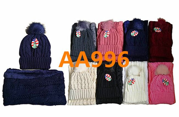 Wholesale Knit Cuffed Cable Beanie Hats W/Fur Pom And Fur Infinity Scarf 2 PC Set, AA996 - OPT FASHION WHOLESALE