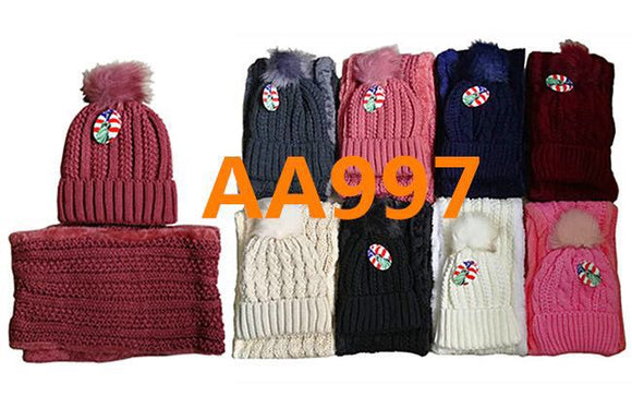 Wholesale Knit Cuffed Cable Beanie Hats W/Fur Pom And Fur Infinity Scarf 2 PC Set, AA997