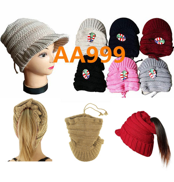 Women Girl Winter Ribbed Knitted Hat Open Top Ponytail Visor Beanies Cap Fur Lining AA999