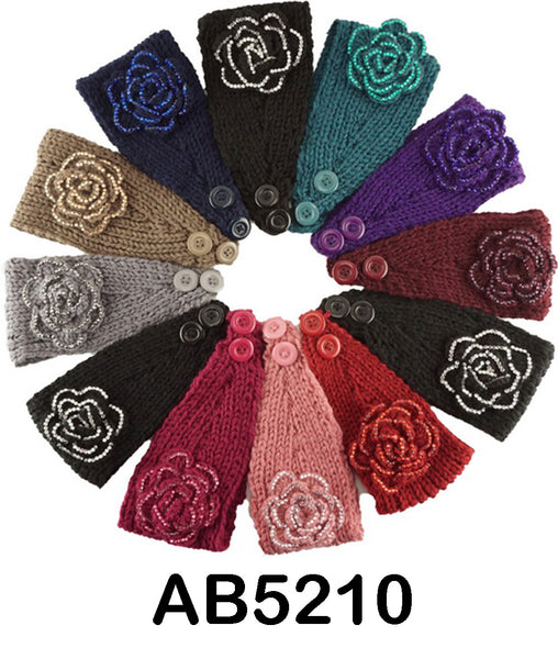 Stone Flower Handmade Headwear Crochet Knit Headwrap Headband AB5210 - OPT FASHION WHOLESALE