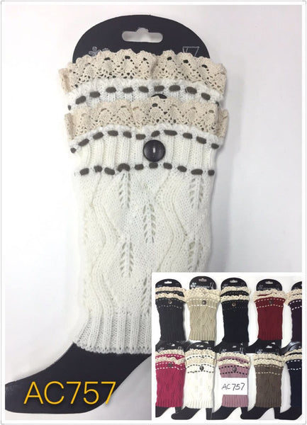 Wholesale Cable Knit Button Short Leg Warmers Boot Cuffs AC757 - OPT FASHION WHOLESALE
