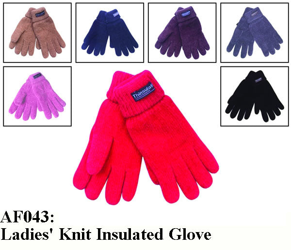 Lady Knit Insulated Chenille Gloves AF043G - OPT FASHION WHOLESALE