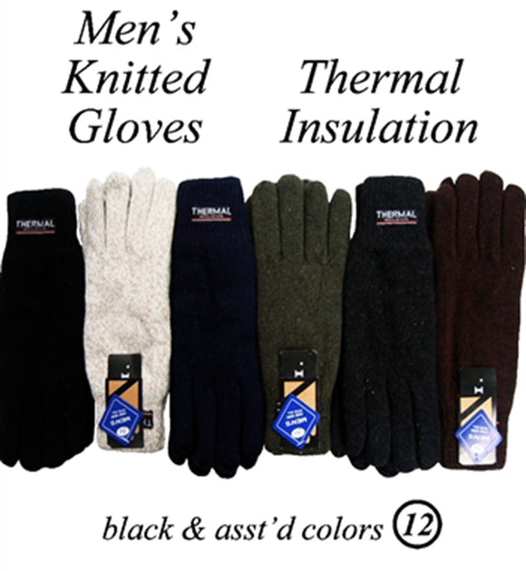 Men Heavy Knit Insulated Gloves AF044G - OPT FASHION WHOLESALE