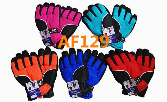 Wholesale Kids Children Unisex Ski Gloves W/Velcro Strap AF129 - OPT FASHION WHOLESALE