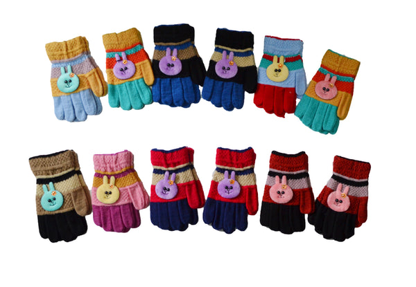 Girls Magic Knit Rabbit Animal Gloves AF143 - OPT FASHION WHOLESALE