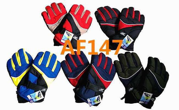 Men Waterproof Ski Sport Gloves W/Leather Palm Velcro Strap AF147 - OPT FASHION WHOLESALE