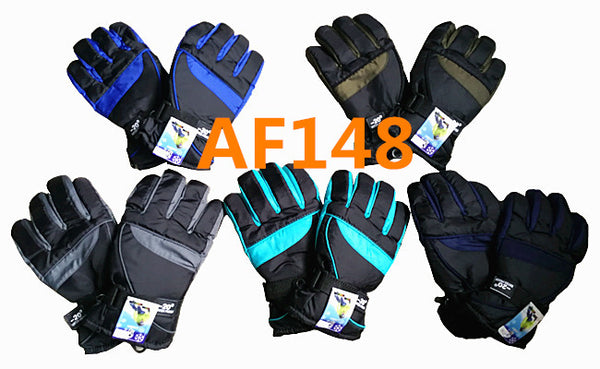 Waterproof Ski Gloves W/Leather Palm Velcro Strap AF148 - OPT FASHION WHOLESALE