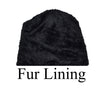 Lady Winter Ribbed Cable Knitted Long Cuffed Hat Beanies Skull Cap Fur Lining AA1001 - OPT FASHION WHOLESALE