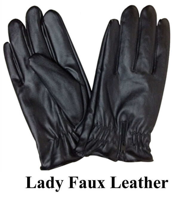Lady Faux Leather Gloves G209 - OPT FASHION WHOLESALE