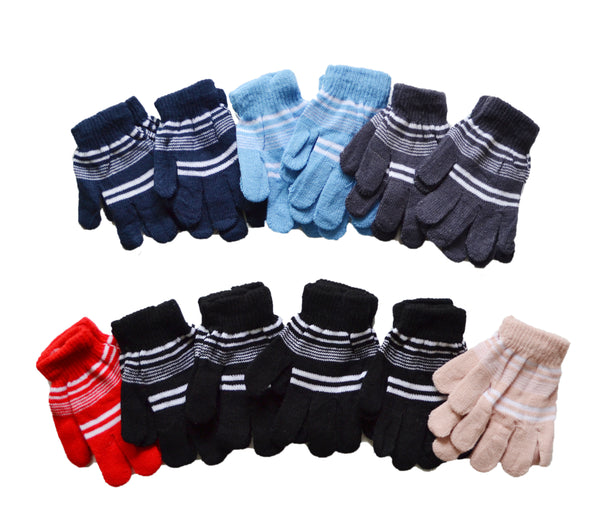 Kids Children Boys Girls Stripe Stretchy Knit Gloves 9113 - OPT FASHION WHOLESALE