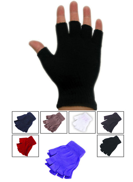 Fingerless Magic Knit Half Finger Work Sport Gloves AF085/G9150 - OPT FASHION WHOLESALE