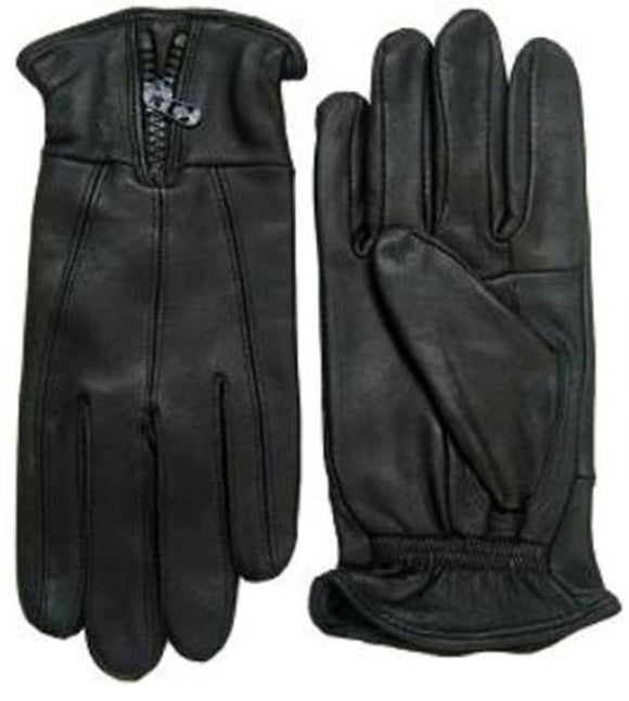 Men Genuine Leather Gloves W/Zipper AF012 - OPT FASHION WHOLESALE