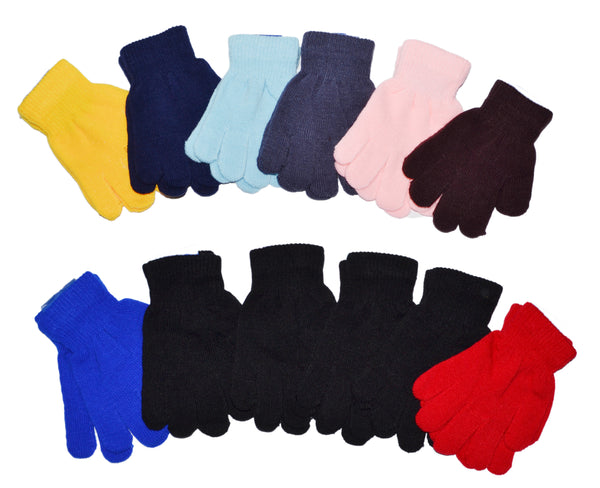 Kids Children 5-16 Years Old Boys Girls Knit Magic Solid Plain Gloves GA0808-1 - OPT FASHION WHOLESALE