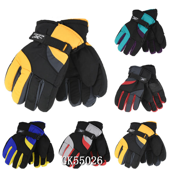 Wholesale Kids Children Unisex Ski Gloves W/Velcro Strap GK55026 - OPT FASHION WHOLESALE