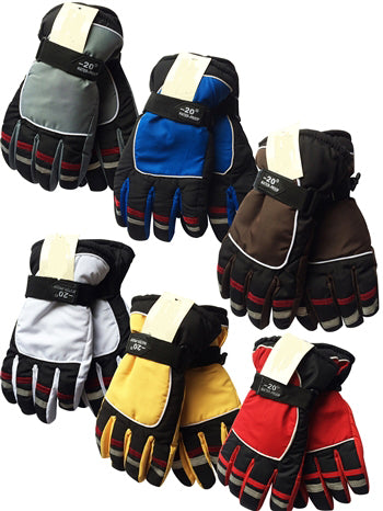 Wholesale Kids Children Teens Unisex Ski Gloves W/Velcro Strap GK55026B - OPT FASHION WHOLESALE