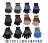 Wholesale Boys Girls Kids Children Knit Magic Gloves W/ Fur Lining GK55075 - OPT FASHION WHOLESALE