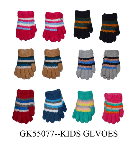Wholesale Baby Girls Boys Toddler Knit Magic Gloves W/ Fur Lining GK55077 - OPT FASHION WHOLESALE