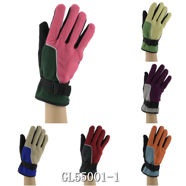 Lady Fleece Insulation Gloves Velcro Strap GL55001-1 - OPT FASHION WHOLESALE