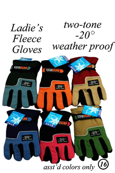 Lady Fleece Insulation Gloves Velcro Strap GL55001 - OPT FASHION WHOLESALE