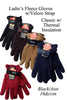 Lady Solid Plain Fleece Gloves Velcro Strap GL55003 - OPT FASHION WHOLESALE
