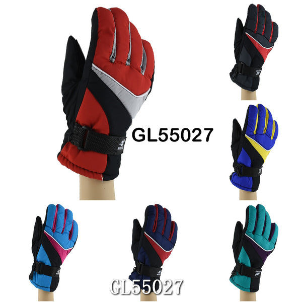 Lady Waterproof Ski Gloves With Leather Palm GL55027 - OPT FASHION WHOLESALE